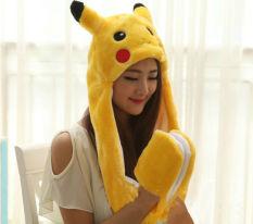 Diskon Fashion Pikachu Plush Hat Dengan Sarung Tangan Cosplay Cap Long Earflap Intl Branded