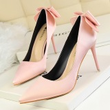Beli Fashion Menunjuk Toe Wanita Pompa Tipis Heels Bertumit Tinggi Ujung Wanita Sepatu Bow High Heels Ladies Pernikahan Sepatu Pink Lengkap