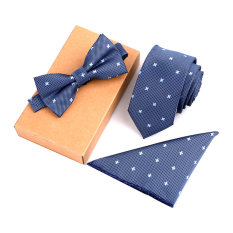 Beli Fashion Polyester Silk Neckties Handkerchief Bow Tie Set Skinny Ties Pocket Square Towel Bowtie Wedding For Men Kredit Tiongkok