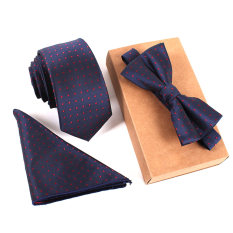 Jual Fashion Poliester Sutra Dasi Saputangan Bow Tie Set Kurus Ikatan Saku Persegi Handuk Bowtie Pernikahan Untuk Pria Import