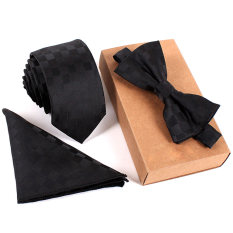 Toko Fashion Poliester Sutra Dasi Saputangan Bow Tie Set Kurus Ikatan Saku Persegi Handuk Bowtie Pernikahan Untuk Pria Online Tiongkok