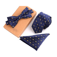 Beli Fashion Polyester Silk Neckties Handkerchief Bow Tie Set Skinny Ties Pocket Square Towel Bowtie Wedding For Men Yang Bagus