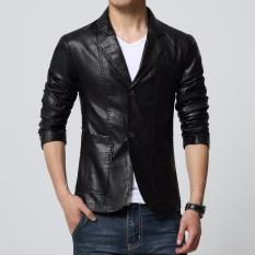 Fashion Pria - Blazer Jas Black Leather Stylish Eksekutif