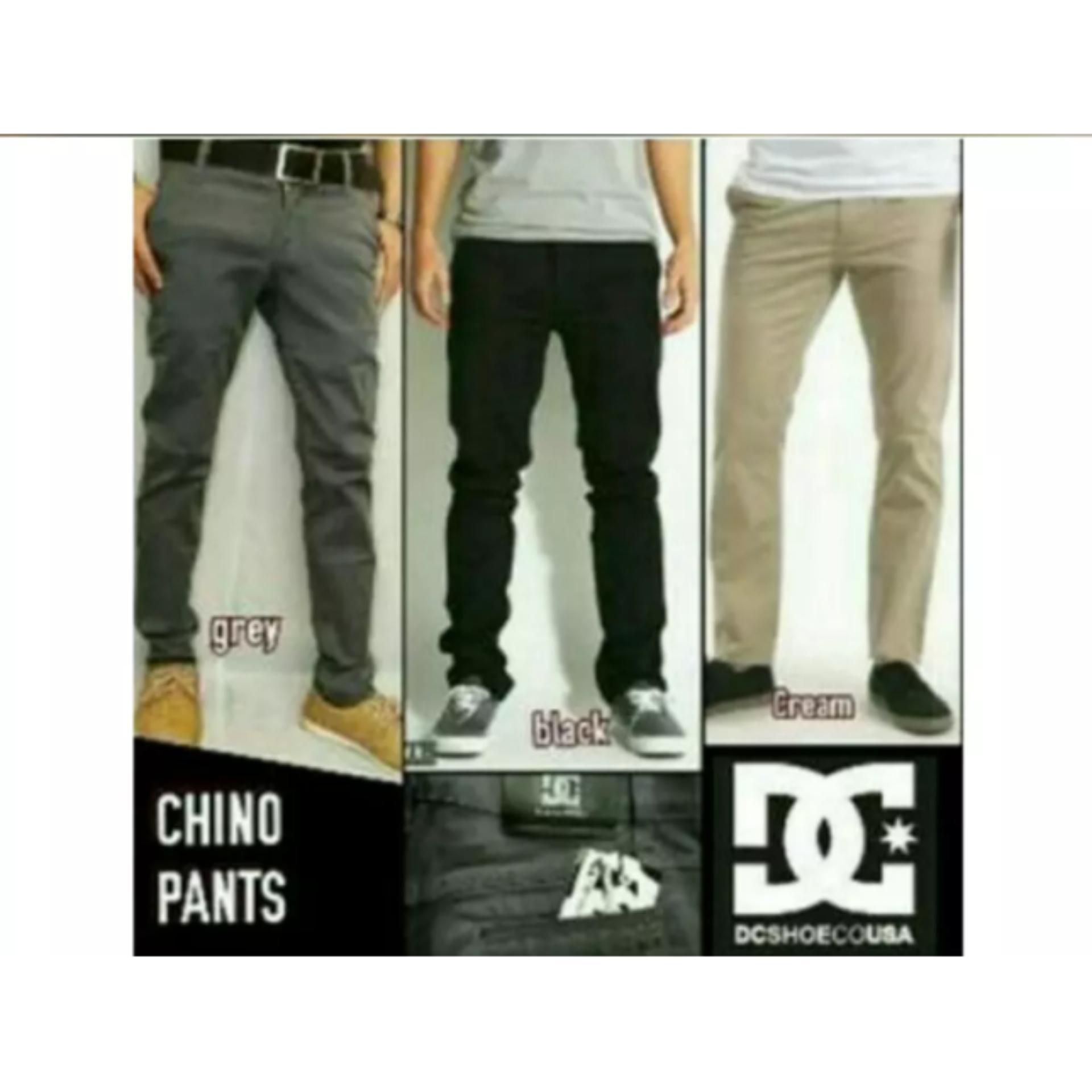Fashion Pria Celana Panjang Size 27 28 29 30 31 32 33 34 Hitam, Cream