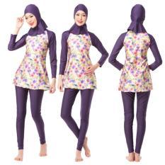Fashion Printed Wanita Pakaian Renang Islami Tiga Potong Full Coverage Baju Renang Muslim Ladies Lengan Panjang Berenang Memandikan Perapi-Intl