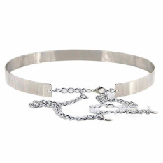 Fashion Punk Full Metal Cermin Pinggang Belt Metallic Plate Wide Cummerbunds Silver