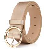 Beli Barang Fashion Round Alloy Pin Buckle Women Belt 105Cm Gold Intl Online