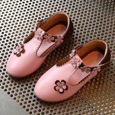 Fashion Gadis Sekolah Anak-anak Bunga Santai Ringstones Karet Sole PU Kulit Sepatu I116 Pink-Intl