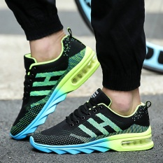Fashion sneakers men Blade breathable air cushion running shoes Han edition men's shoes leisure boom (green)
