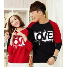 Fashion Story - T-Shirt Lp Kimono Love Hitam Merah  Blood Love  Kaos Pasangan  Baju Pasangan ( Cewe