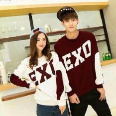 Fashion Story - Tshirt Couple Exo Maroon Putih LP  Kaos Couple  Harga Murah