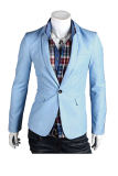 Spesifikasi Fashion Pria Bergaya Outwear Satu Tombol Casual Slim Fit Blazer Coat Jacket Suit Sky Blue Yang Bagus Dan Murah