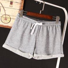 Fashion Musim Panas Perempuan Pinggang Elastis Tunik Drawstring Elegant Beach Sport Pocket Manset Casual Shorts Original