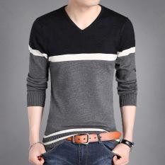 Jual Fashion Supreme Kaos Pria Lengan Panjang Bahan Katun Kerah V Motif Bergaris 8903 Abu Abu Baju Atasan Kaos Pria Kemeja Pria Murah