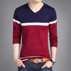Jual Fashion Supreme Kaos Pria Lengan Panjang Bahan Katun Kerah V Motif Bergaris 8903 Merah Baju Atasan Kaos Pria Kemeja Pria Branded