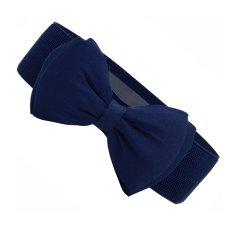 Fashion Sweet Women Bowknot Elastic Bow Wide Stretch Waistband Waist Belt - intl
