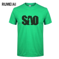 Fashion Sword Art Online T Kemeja Pria Kapas Streetwear Sao T-shirt Pria Top Kaus Lucu Tops Hip Hop Merek Clothing (hijau) -Intl