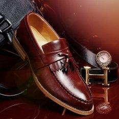 Fashion Rumbai Kulit Pria Sepatu Red Brown Di Tiongkok