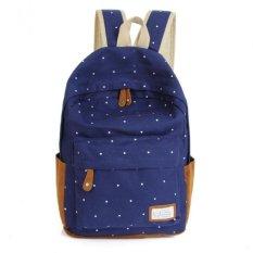 Harga Fashion Unisex Dot Printing Backpack Sch**l Book Backpacks Shoulder Bag Bule Merk Oem