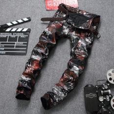 Jual Fashion Vintage Pria Ripped Jeans Celana Slim Fit Skinny Denim Jeans Hip Hop Streetwear Hancur Pria Celana Bahan Jean Untuk Multicolor Intl Baru
