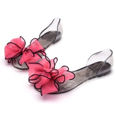Harga Hemat Fashion Wanita Jelly Kristal Transparansi Bunga Bunga Mengenakan Sandal Datar Ci Kaki Kepala Ikan Pantai Meliputi Hak Sepatu Tunggal