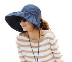 Fashion Wanita Lipat Tabir Surya Anti UV Tahan Air Sun Topi Sunbonnet Angkatan Laut