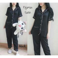 fashion wanita pakaian baju tidur model piyama model satin celana panjang warna hitam