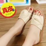 Beli Sepatu Sandal Wanita Sol Datar Tali Horizontal Nasi Putih Online Murah