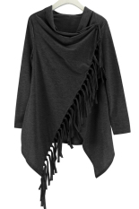 Jual Beli Fashion Wanita Jaket Bomber Lengan Panjang Cardigan Jaket Sweater On Rajutan Rumbai Hitam