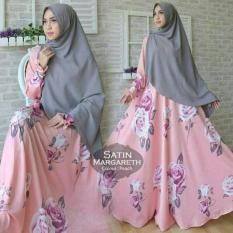 Fashion Wanita Satin Margaret Peach Hijab Gamis Maxi Dres Set Muslim