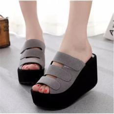 Review Toko Fashion Wanita Sepatu Sandal Wanita Murah Wedges El059 Abu Lcy 66 Online