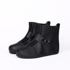 Fashion Sepatu Waterproof Cover Wanita Pria Hujan Salju Boots Sepatu Covers Waterproof Tahan Hujan Antiskid Plastik Plastik Tebal Rain Boots Cover (warna: Hitam)-Intl