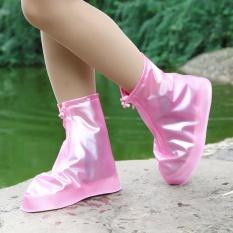Fashion Sepatu Waterproof Cover Wanita Pria Hujan Salju Boots Sepatu Covers Mengepang Sole Slip-resistant Wear-resistant Over Sepatu untuk Bersepeda, Outdoor, Berkemah, Memancing, GARDEN (Warna, Rose)-Intl