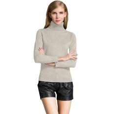 Obral Fashion Musim Dingin Wanita Sweater Knitwear Turtle Neck Lengan Panjang Ribbed Rajutan Pullover Tops Beige Murah