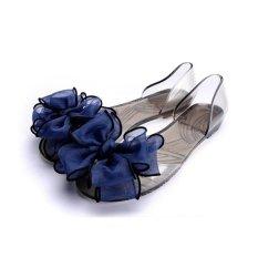 Fashion Women Beach Sandal Flip Flops Flats Sepatu Musim Panas Jelly Crystal Sandal Biru Intl Original