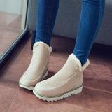 Harga Fashion Wanita Ukuran Besar Warna Murni Lapisan Bulu Hangat Musim Dingin Pergelangan Kaki Sepatu Bot Salju Intl Baru