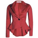 Spek Fashion Wanita Blazers Jaket Tidak Beraturan Suit Button Coat Slim Ol Bisnis Formal Wanita Hak Tinggi Aksen Pita Model Pump Lebih Tahan Dr Merah Anggur Internasional Tiongkok