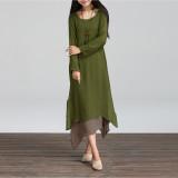 Ongkos Kirim Fashion Wanita Boho Hippie Kasual Sprei Katun Panjang Lengan Baju Panjang Gaun Maxi Kaftan Di Tiongkok