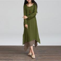 Fashion Wanita BoHo Hippie Kasual Sprei Katun Panjang Lengan Baju Panjang Gaun Maxi Kaftan