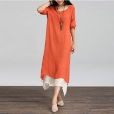 Fashion Wanita BoHo Hippie Kasual Sprei Katun Panjang Gaun Lengan Baju Maxi Kaftan
