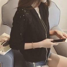Fashion Wanita Pembom Jaket Lengan Panjang Lace Sunscreen Shirt Summer Thin Coat Casual Baseball Coat Pendek-Intl