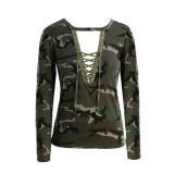 Jual Fashion Wanita Kamuflase Lengan Panjang T Shirt Lace Up Neck T Shirt Tops Hijau Tentara Internasional Lengkap