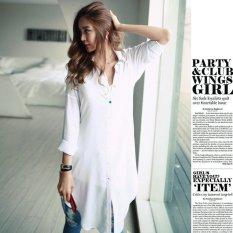 Fashion Wanita Sifon Kasual Lapel Panjang Lengan Gaun Longgar Single-breasted Baju Hem Asimetris-Internasional