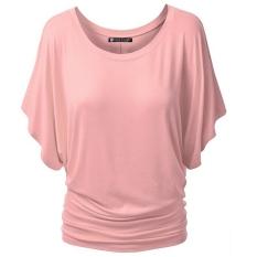 Fashion Wanita Kasual O Leher Pendek Lengan Lengan Lengan Lengan Longgar Solid Dasar Tops Blus (