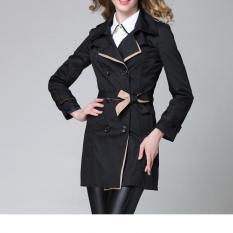 Fashion Wanita Gaya Korea Kasual Mantel Jas Hujan Wanita Jas Pakaian Mantel Warna Solid (hitam)-International