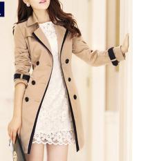 Diskon Fashion Wanita Gaya Korea Kasual Mantel Jas Hujan Wanita Jas Pakaian Mantel Warna Solid Dril International Oem