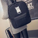 Review Tentang Fashion Wanita Tas Ransel Kanvas Kucing Gadis Kasual Shoulder Bags Tas Buku Perjalanan Hitam