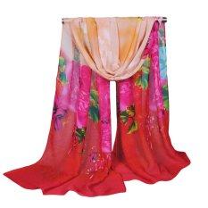 Pusat Jual Beli Fashion Women Chiffon Scarf Floral Print Long Tipis Selendang Pashmina Tiongkok