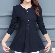 Fashion Wanita Kemeja Sifon Wanita Panjang Pesta untuk Flounce Sisi Mengumpulkan Pinggang Baju Blus-Intl
