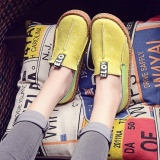 Review Terbaik Fashion Women Comfy Flat Loafers Round Toe Diving Leisure Shoes Ballet Flats Yellow Intl